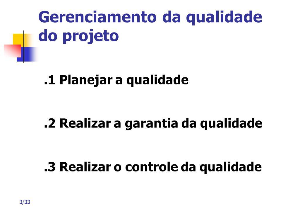 3/33 Gerenciamento da qualidade do projeto.1 Planejar a qualidade.2 Realizar a garantia da qualidade.3 Realizar o controle da qualidade