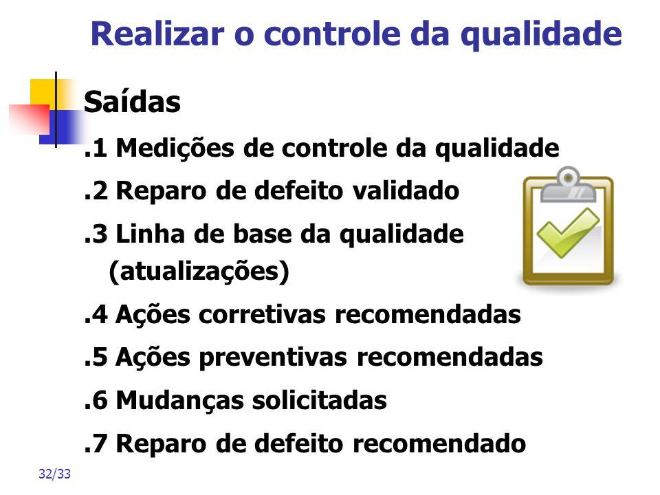 32/33 Realizar o controle da qualidade Saídas.1 Medições de controle da qualidade.2 Reparo de defeito validado.3 Linha de base da qualidade (atualizaç