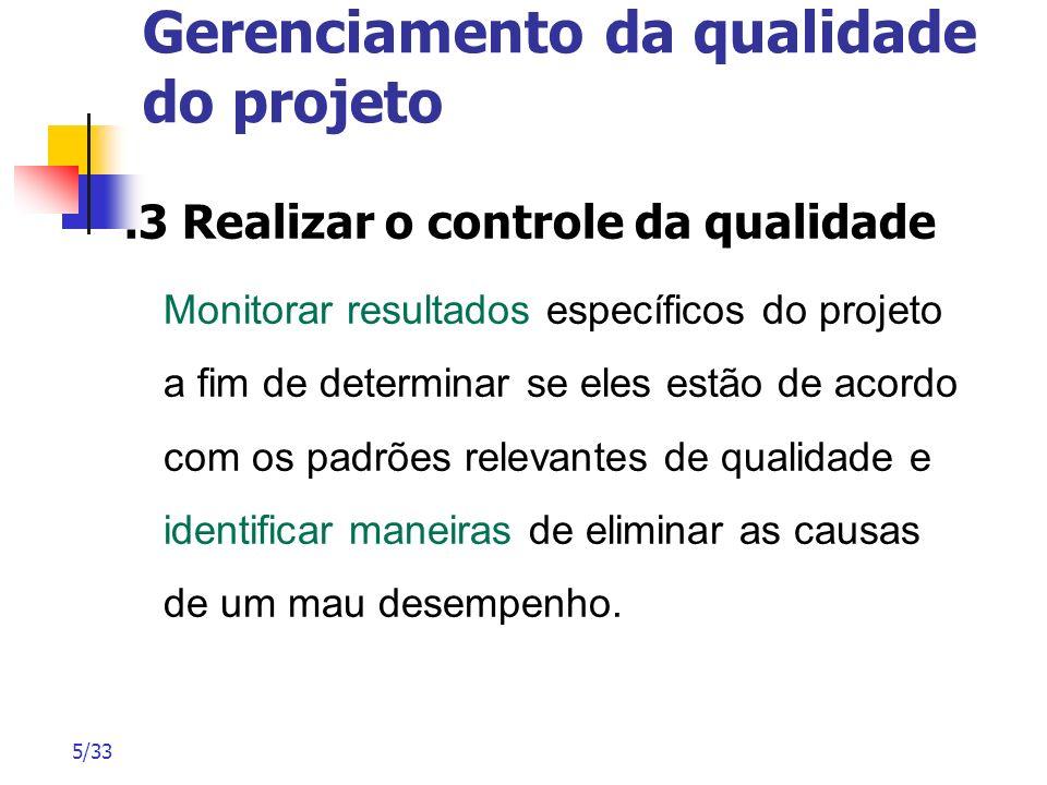 5/33 Gerenciamento da qualidade do projeto.3 Realizar o controle da qualidade Monitorar resultados específicos do projeto a fim de determinar se eles