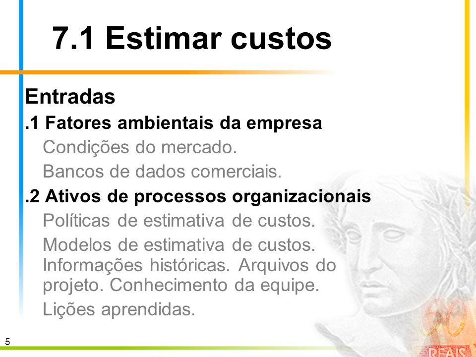 6 7.1 Estimar custos Entradas.3 Declaração do escopo do projeto.4 Estrutura analítica do projeto.5 Dicionário da EAP.6 Plano de gerenciamento do projeto Plano de gerenciamento do cronograma.