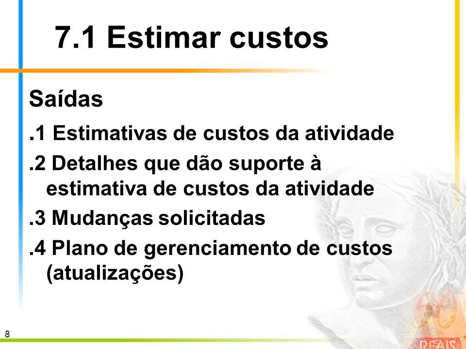 9 7.2 Determinar o or ç amento As estimativas de custos da atividade do cronograma ou do pacote de trabalho são preparadas antes das solicitações de orçamento detalhado e da autorização do trabalho.