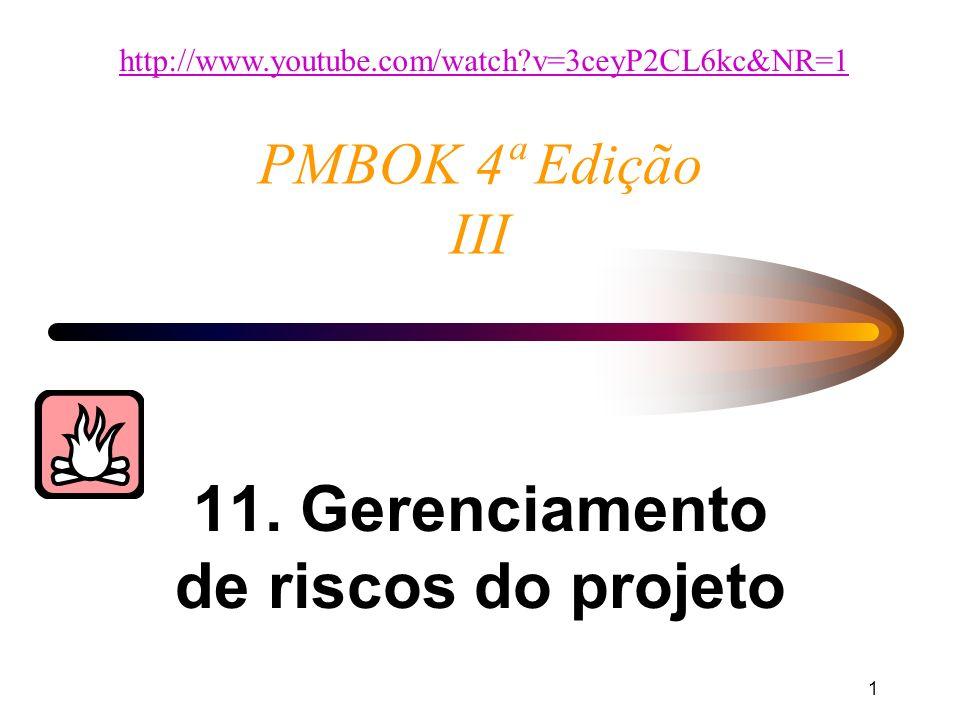 1 PMBOK 4ª Edição III 11. Gerenciamento de riscos do projeto http://www.youtube.com/watch?v=3ceyP2CL6kc&NR=1