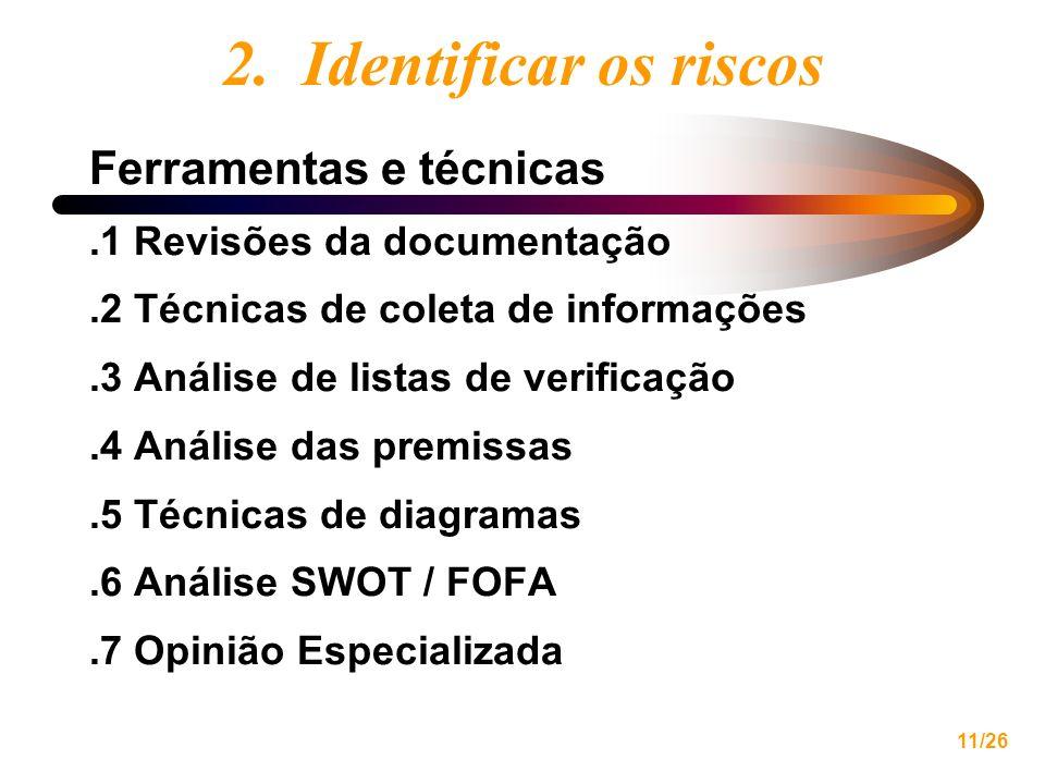 11/26 2. Identificar os riscos Ferramentas e técnicas.1 Revisões da documentação.2 Técnicas de coleta de informações.3 Análise de listas de verificaçã