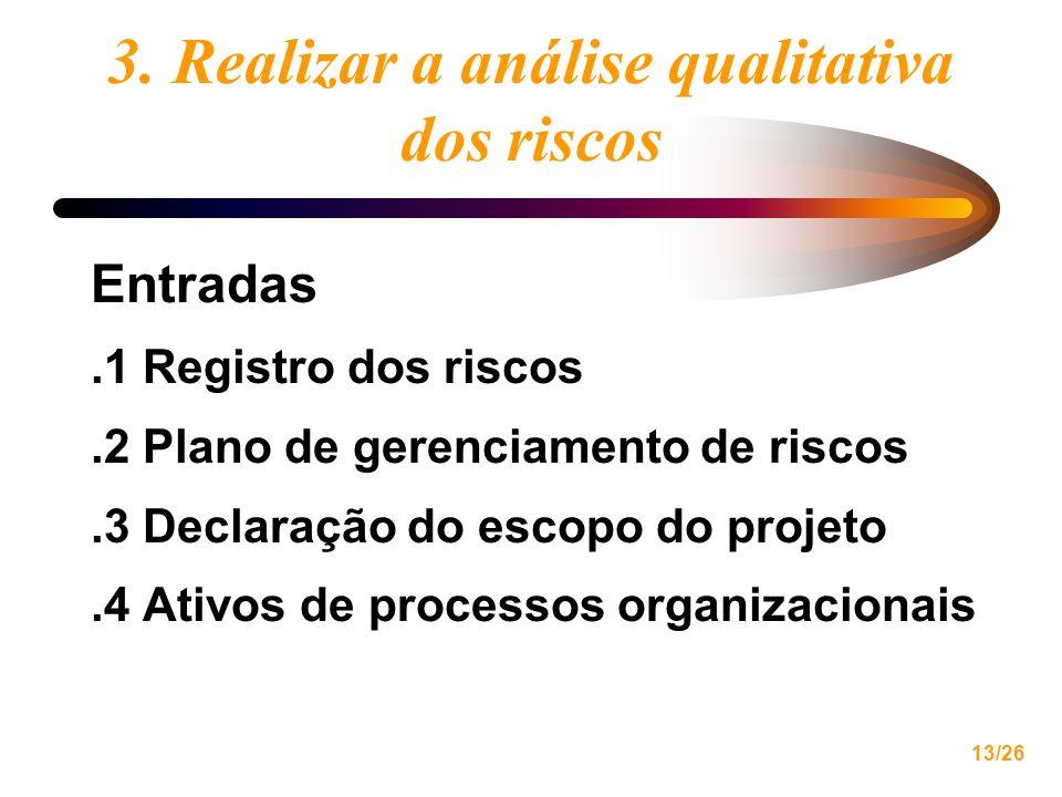 13/26 3. Realizar a análise qualitativa dos riscos Entradas.1 Registro dos riscos.2 Plano de gerenciamento de riscos.3 Declaração do escopo do projeto