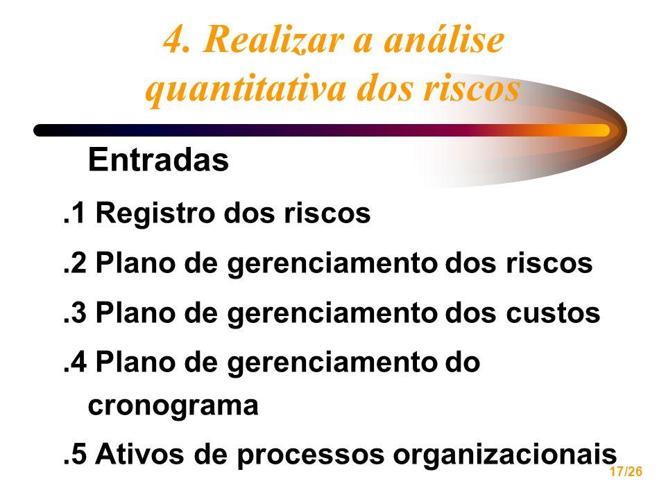 17/26 4. Realizar a análise quantitativa dos riscos Entradas.1 Registro dos riscos.2 Plano de gerenciamento dos riscos.3 Plano de gerenciamento dos cu