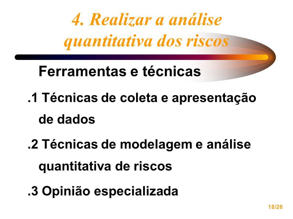 18/26 4. Realizar a análise quantitativa dos riscos Ferramentas e técnicas.1 Técnicas de coleta e apresentação de dados.2 Técnicas de modelagem e anál