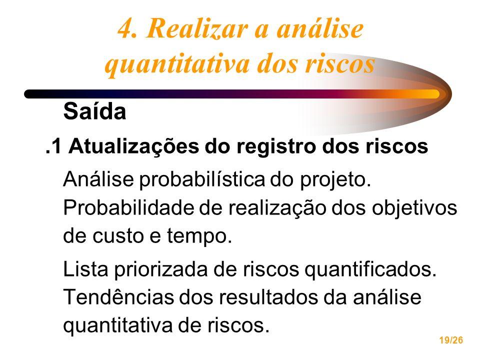 19/26 4. Realizar a análise quantitativa dos riscos Saída.1 Atualizações do registro dos riscos Análise probabilística do projeto. Probabilidade de re