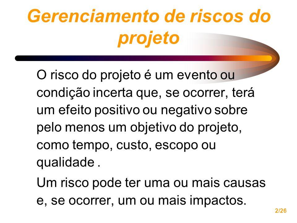 2/26 Gerenciamento de riscos do projeto O risco do projeto é um evento ou condição incerta que, se ocorrer, terá um efeito positivo ou negativo sobre