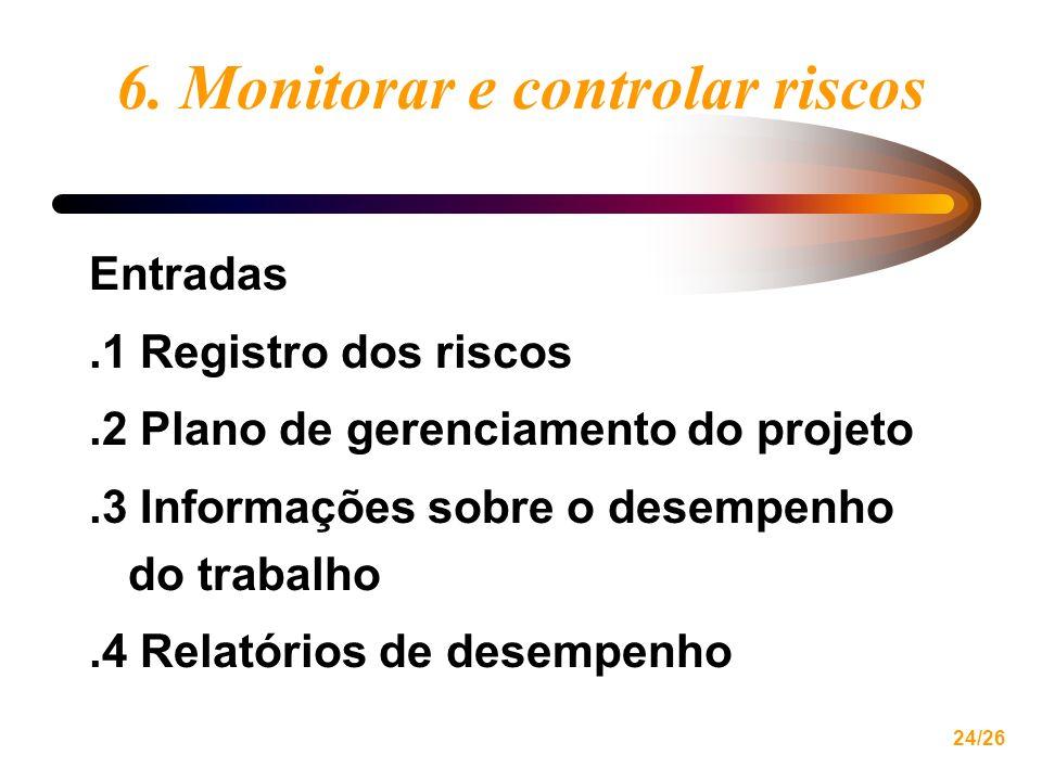 24/26 6. Monitorar e controlar riscos Entradas.1 Registro dos riscos.2 Plano de gerenciamento do projeto.3 Informações sobre o desempenho do trabalho.