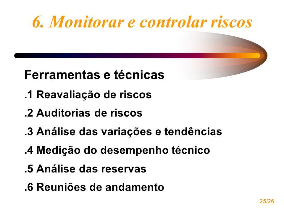 25/26 6. Monitorar e controlar riscos Ferramentas e técnicas.1 Reavaliação de riscos.2 Auditorias de riscos.3 Análise das variações e tendências.4 Med