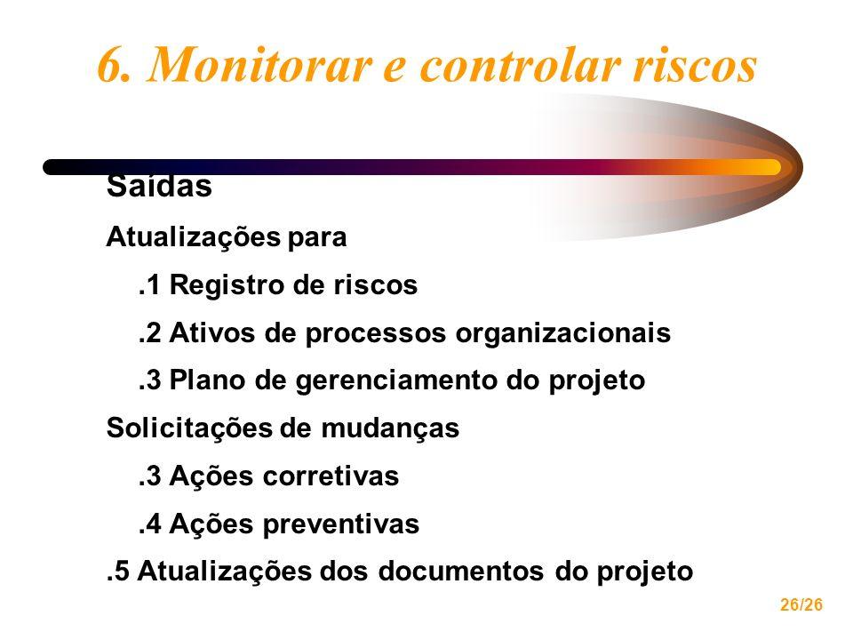 26/26 6. Monitorar e controlar riscos Saídas Atualizações para.1 Registro de riscos.2 Ativos de processos organizacionais.3 Plano de gerenciamento do