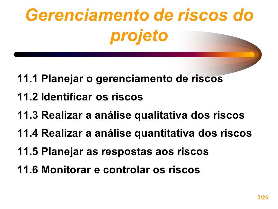 3/26 Gerenciamento de riscos do projeto 11.1 Planejar o gerenciamento de riscos 11.2 Identificar os riscos 11.3 Realizar a análise qualitativa dos ris