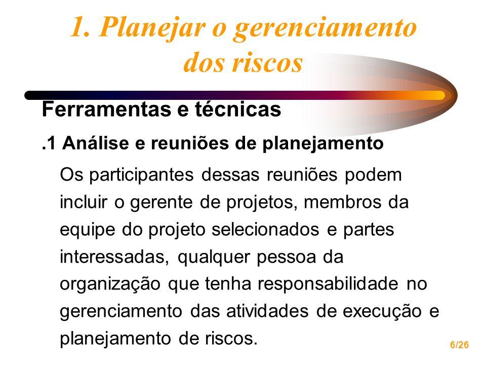 6/26 1. Planejar o gerenciamento dos riscos Ferramentas e técnicas.1 Análise e reuniões de planejamento Os participantes dessas reuniões podem incluir