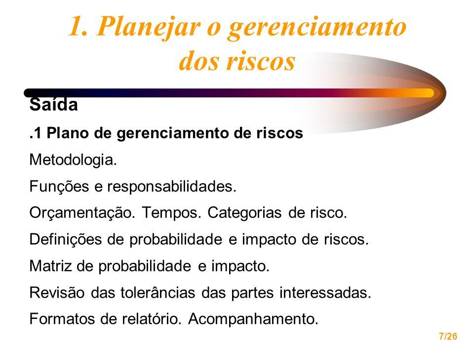 7/26 1. Planejar o gerenciamento dos riscos Saída.1 Plano de gerenciamento de riscos Metodologia. Funções e responsabilidades. Orçamentação. Tempos. C