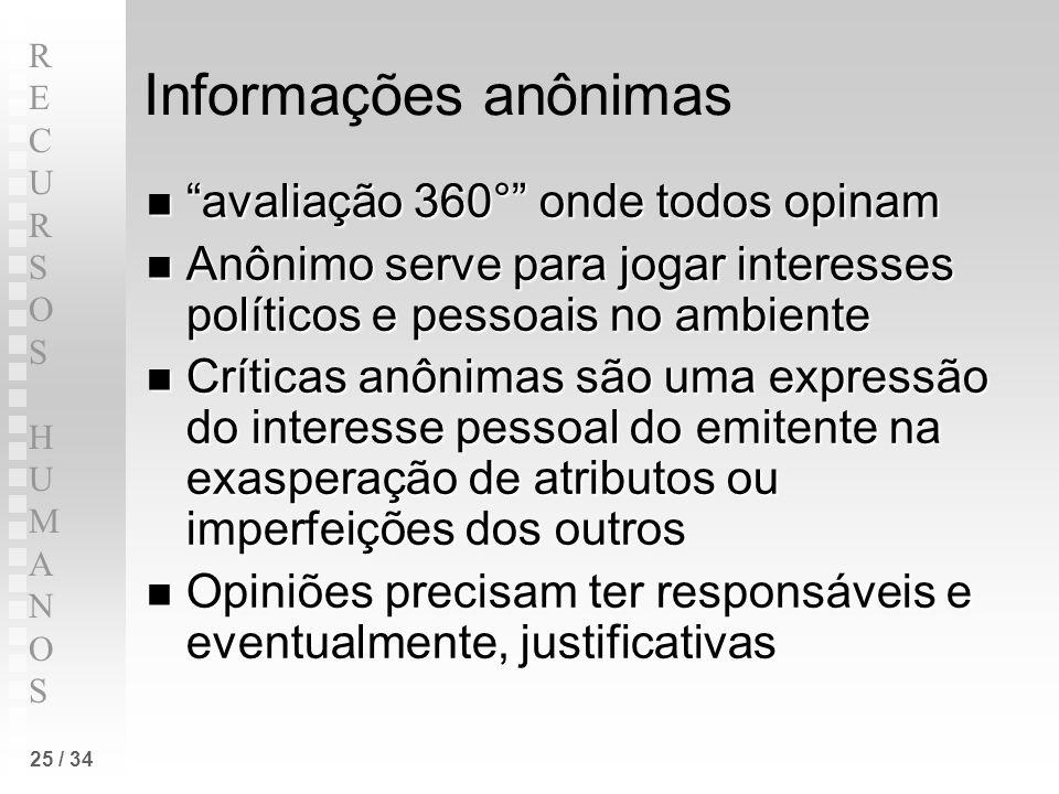 RECURSOS HUMANOSRECURSOS HUMANOS 25 / 34 Informações anônimas avaliação 360° onde todos opinam avaliação 360° onde todos opinam Anônimo serve para jog