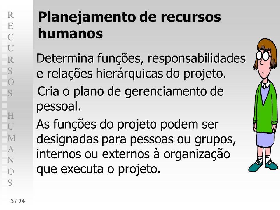 RECURSOS HUMANOSRECURSOS HUMANOS 3 / 34 Planejamento de recursos humanos Determina funções, responsabilidades e relações hierárquicas do projeto. Cria