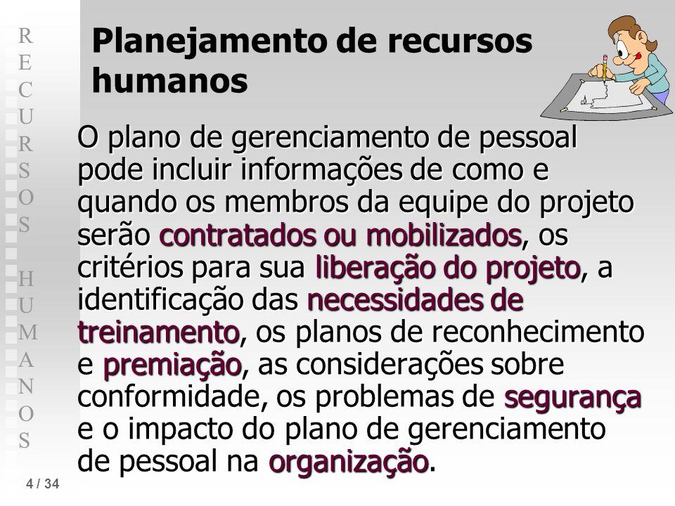 RECURSOS HUMANOSRECURSOS HUMANOS 4 / 34 Planejamento de recursos humanos O plano de gerenciamento de pessoal pode incluir informações de como e quando