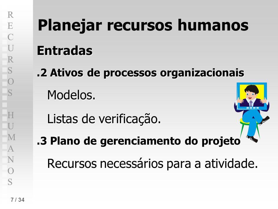 RECURSOS HUMANOSRECURSOS HUMANOS 7 / 34 Planejar recursos humanos Entradas.2 Ativos de processos organizacionais Modelos. Listas de verificação..3 Pla