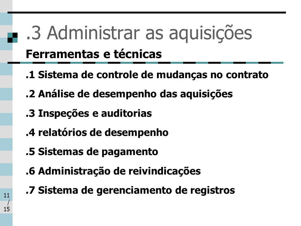 11 / 15.3 Administrar as aquisições Ferramentas e técnicas.1 Sistema de controle de mudanças no contrato.2 Análise de desempenho das aquisições.3 Insp