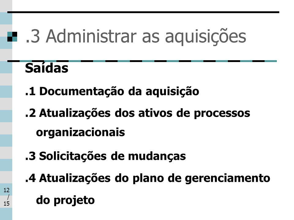 12 / 15.3 Administrar as aquisições Saídas.1 Documentação da aquisição.2 Atualizações dos ativos de processos organizacionais.3 Solicitações de mudanç