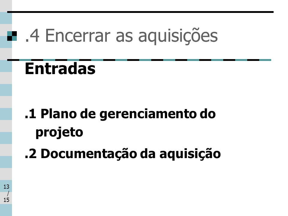 13 / 15.4 Encerrar as aquisições Entradas.1 Plano de gerenciamento do projeto.2 Documentação da aquisição