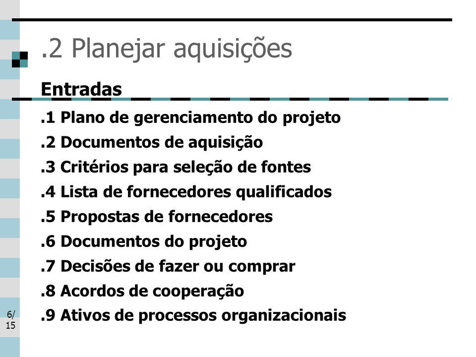 6/ 15.2 Planejar aquisições Entradas.1 Plano de gerenciamento do projeto.2 Documentos de aquisição.3 Critérios para seleção de fontes.4 Lista de forne