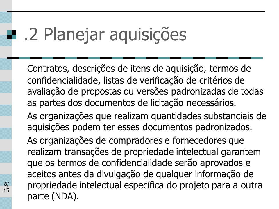 8/ 15.2 Planejar aquisições Contratos, descrições de itens de aquisição, termos de confidencialidade, listas de verificação de critérios de avaliação