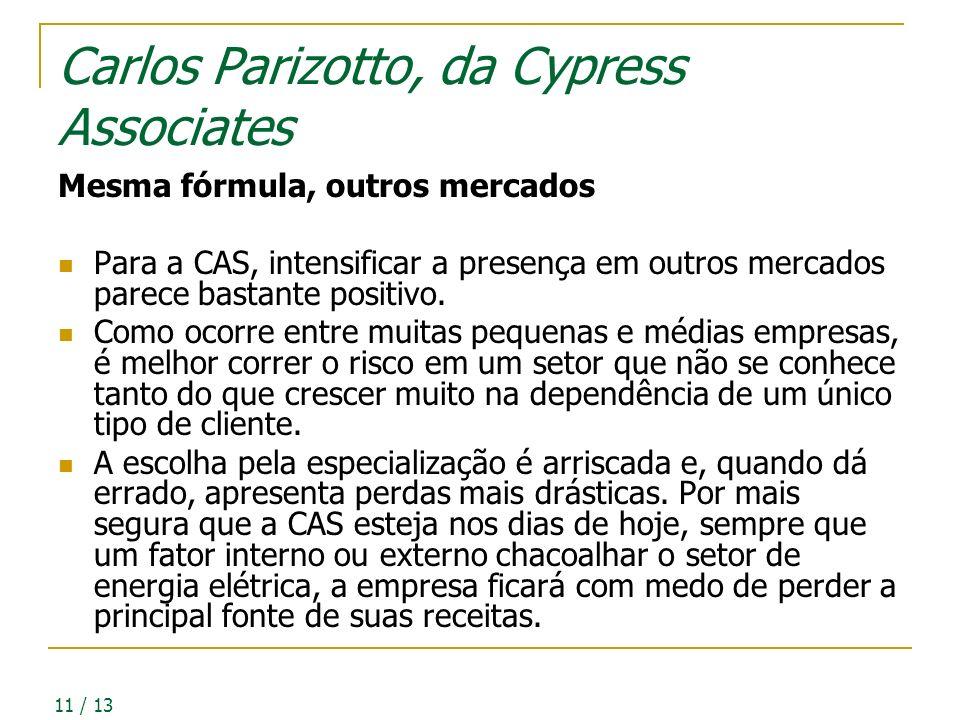 11 / 13 Carlos Parizotto, da Cypress Associates Mesma fórmula, outros mercados Para a CAS, intensificar a presença em outros mercados parece bastante positivo.