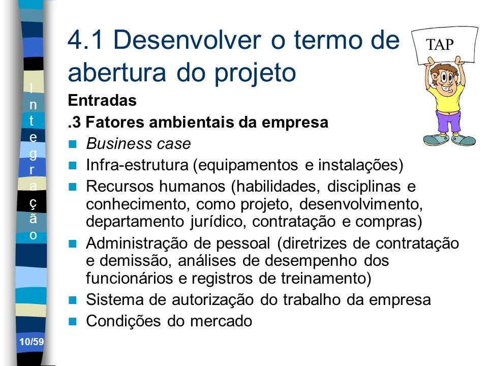 IntegraçãoIntegração 10/59 4.1 Desenvolver o termo de abertura do projeto Entradas.3 Fatores ambientais da empresa Business case Infra-estrutura (equi