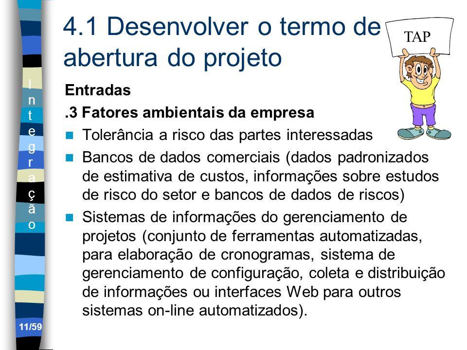 IntegraçãoIntegração 11/59 4.1 Desenvolver o termo de abertura do projeto Entradas.3 Fatores ambientais da empresa Tolerância a risco das partes inter