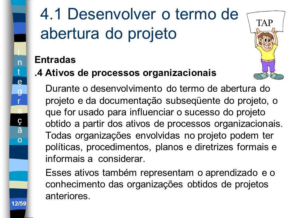 IntegraçãoIntegração 12/59 4.1 Desenvolver o termo de abertura do projeto Entradas.4 Ativos de processos organizacionais Durante o desenvolvimento do