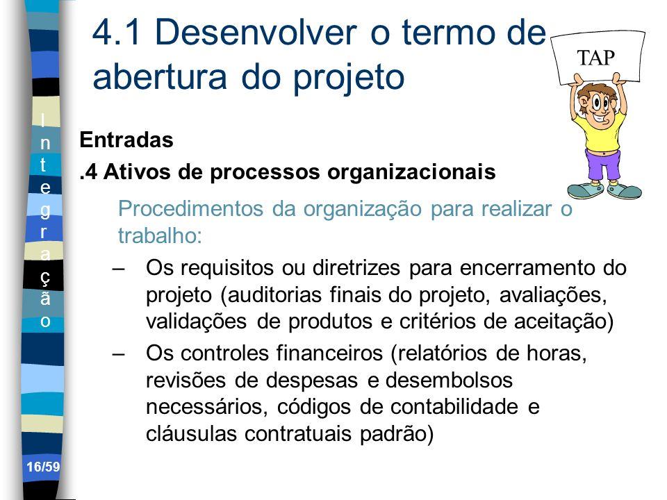 IntegraçãoIntegração 16/59 4.1 Desenvolver o termo de abertura do projeto Entradas.4 Ativos de processos organizacionais Procedimentos da organização