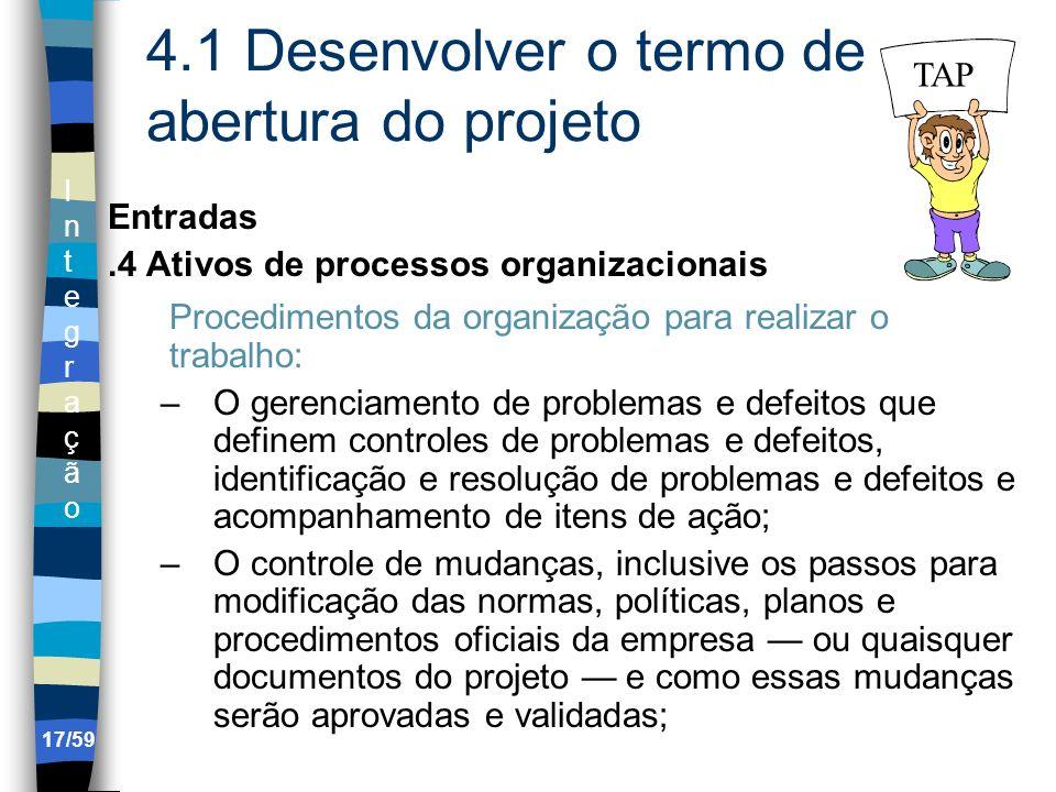 IntegraçãoIntegração 17/59 4.1 Desenvolver o termo de abertura do projeto Entradas.4 Ativos de processos organizacionais Procedimentos da organização