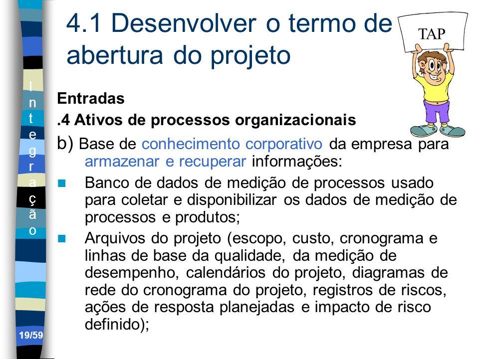 IntegraçãoIntegração 19/59 4.1 Desenvolver o termo de abertura do projeto Entradas.4 Ativos de processos organizacionais b) Base de conhecimento corpo