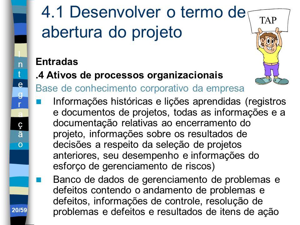 IntegraçãoIntegração 20/59 4.1 Desenvolver o termo de abertura do projeto Entradas.4 Ativos de processos organizacionais Base de conhecimento corporat