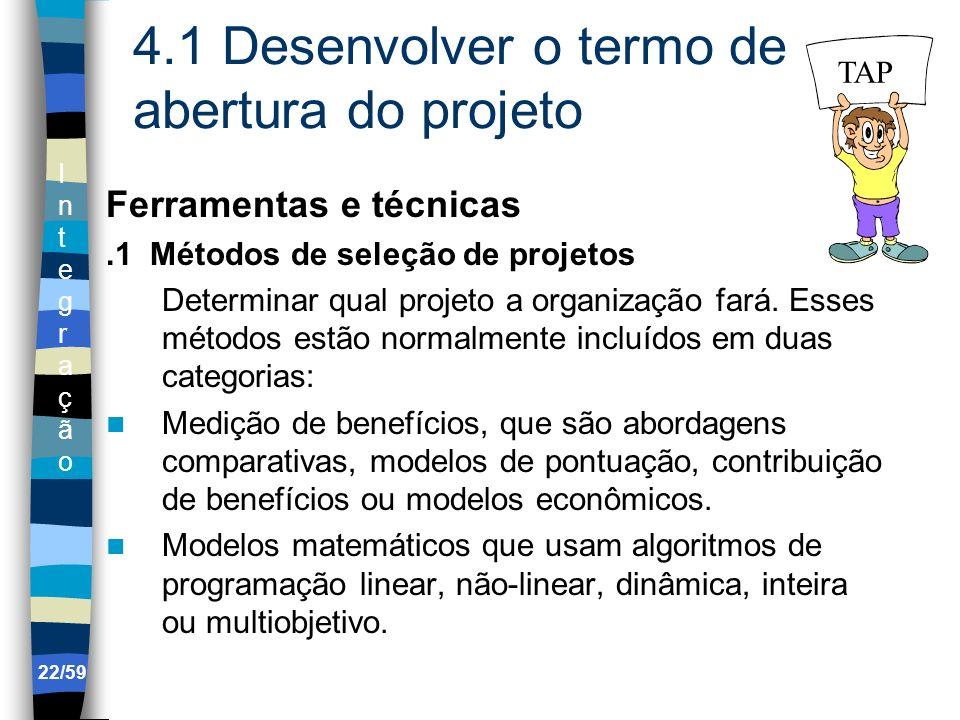 IntegraçãoIntegração 22/59 4.1 Desenvolver o termo de abertura do projeto Ferramentas e técnicas.1 Métodos de seleção de projetos Determinar qual proj