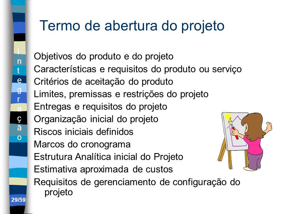 IntegraçãoIntegração 29/59 Termo de abertura do projeto Objetivos do produto e do projeto Características e requisitos do produto ou serviço Critérios