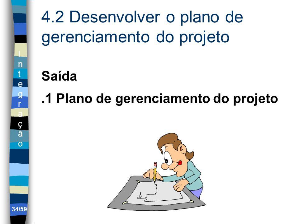 IntegraçãoIntegração 34/59 4.2 Desenvolver o plano de gerenciamento do projeto Saída.1 Plano de gerenciamento do projeto