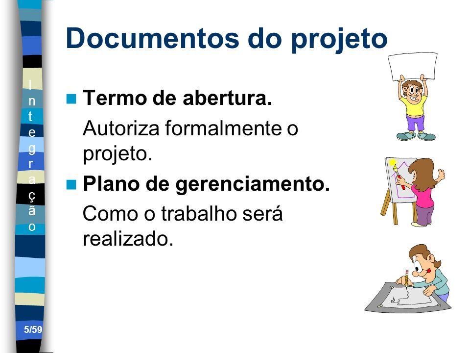 IntegraçãoIntegração 5/59 Documentos do projeto Termo de abertura. Autoriza formalmente o projeto. Plano de gerenciamento. Como o trabalho será realiz