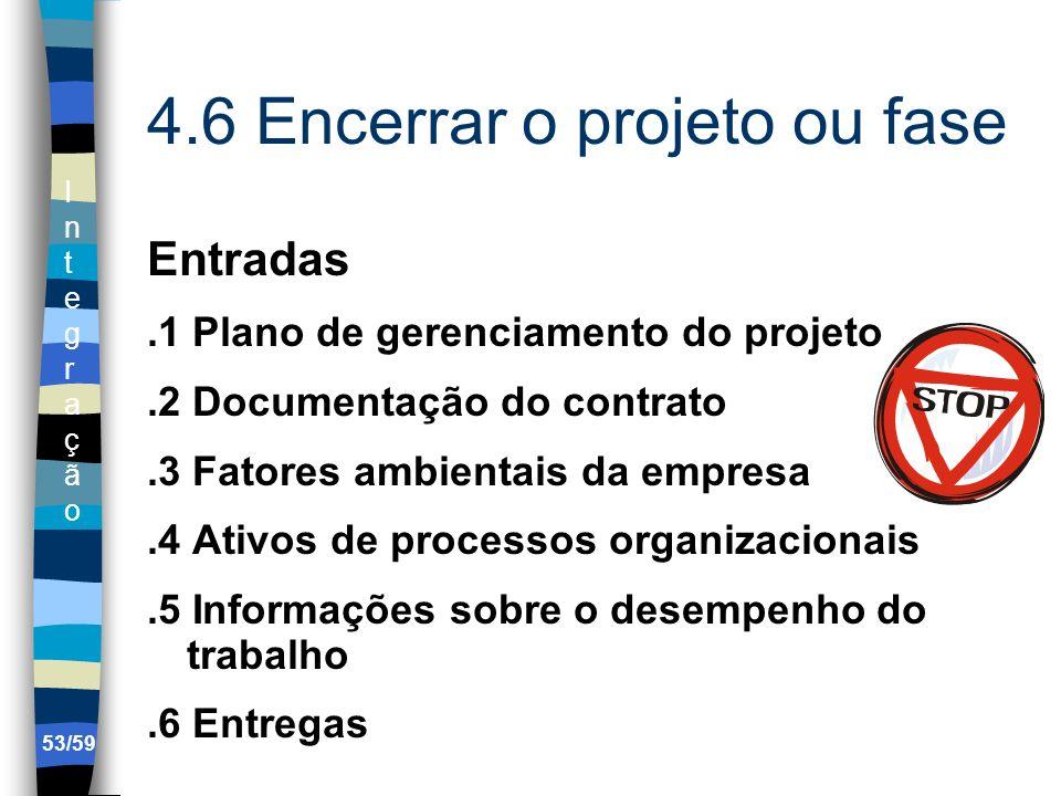 IntegraçãoIntegração 53/59 4.6 Encerrar o projeto ou fase Entradas.1 Plano de gerenciamento do projeto.2 Documentação do contrato.3 Fatores ambientais