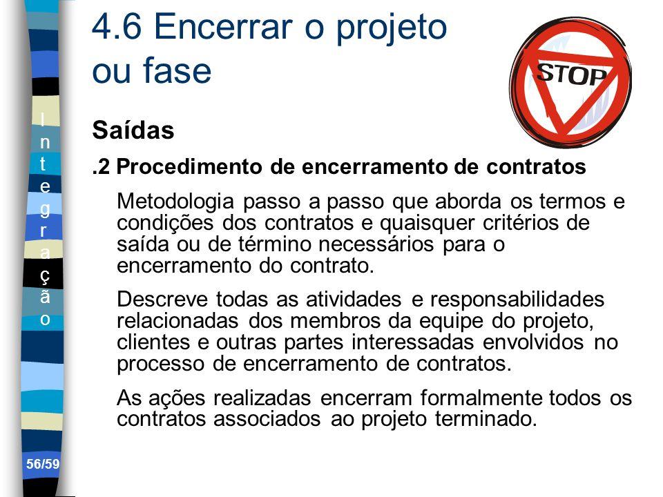 IntegraçãoIntegração 56/59 4.6 Encerrar o projeto ou fase Saídas.2 Procedimento de encerramento de contratos Metodologia passo a passo que aborda os t