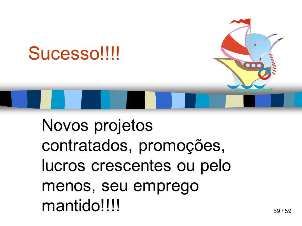 59 / 59 Sucesso!!!! Novos projetos contratados, promoções, lucros crescentes ou pelo menos, seu emprego mantido!!!!