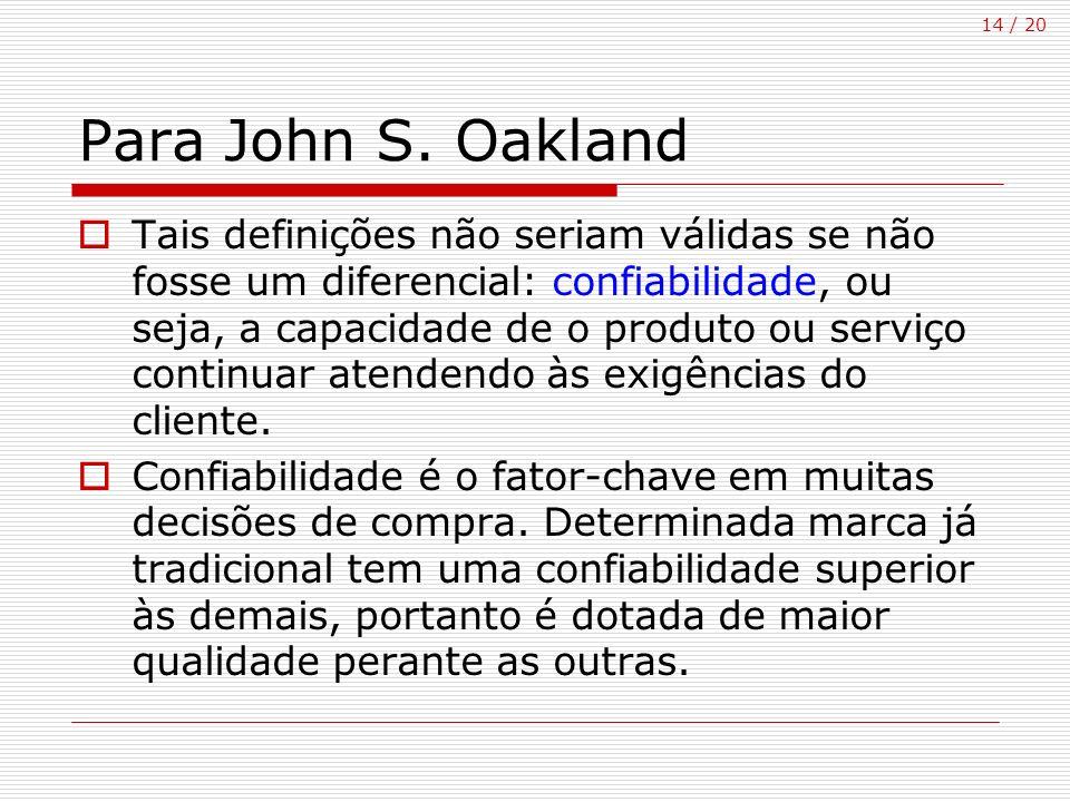 14 / 20 Para John S. Oakland Tais definições não seriam válidas se não fosse um diferencial: confiabilidade, ou seja, a capacidade de o produto ou ser