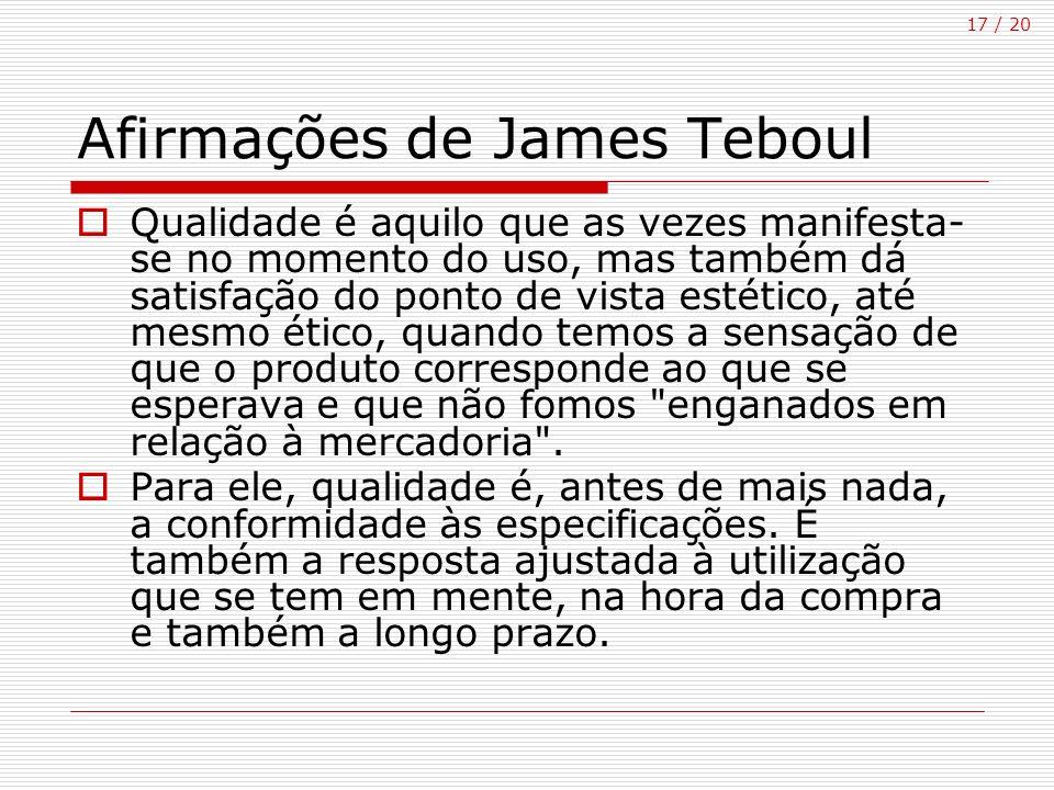 17 / 20 Afirmações de James Teboul Qualidade é aquilo que as vezes manifesta- se no momento do uso, mas também dá satisfação do ponto de vista estétic