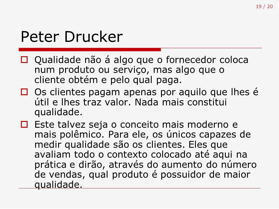 19 / 20 Peter Drucker Qualidade não á algo que o fornecedor coloca num produto ou serviço, mas algo que o cliente obtém e pelo qual paga. Os clientes