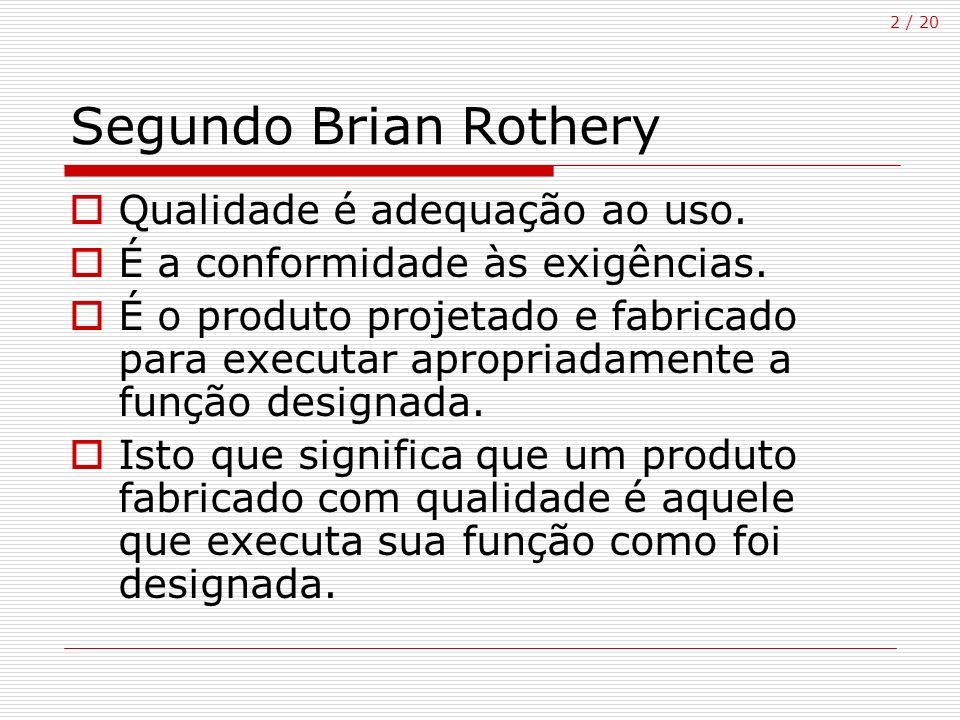 2 / 20 Segundo Brian Rothery Qualidade é adequação ao uso. É a conformidade às exigências. É o produto projetado e fabricado para executar apropriadam