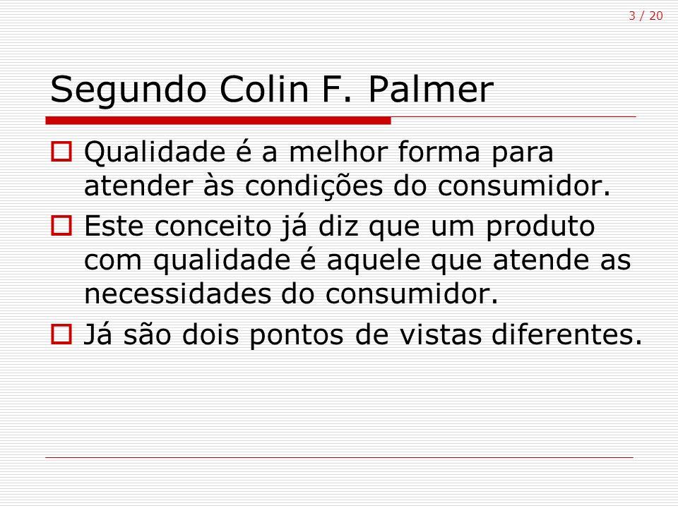 3 / 20 Segundo Colin F. Palmer Qualidade é a melhor forma para atender às condições do consumidor. Este conceito já diz que um produto com qualidade é