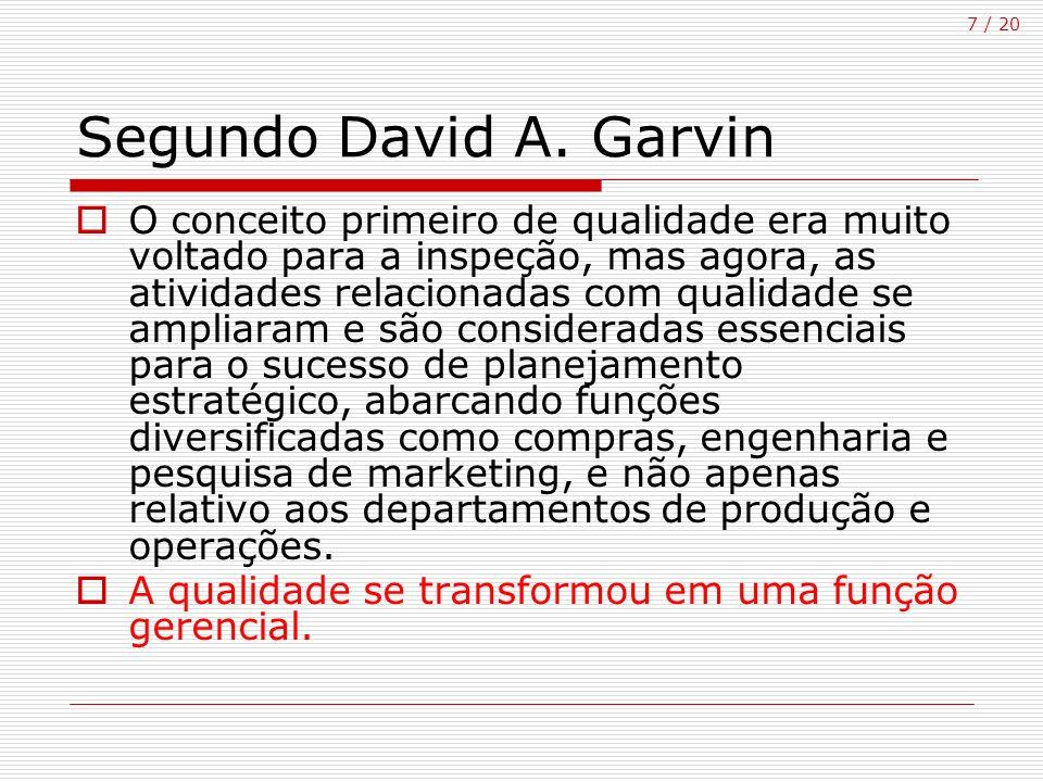 7 / 20 Segundo David A. Garvin O conceito primeiro de qualidade era muito voltado para a inspeção, mas agora, as atividades relacionadas com qualidade