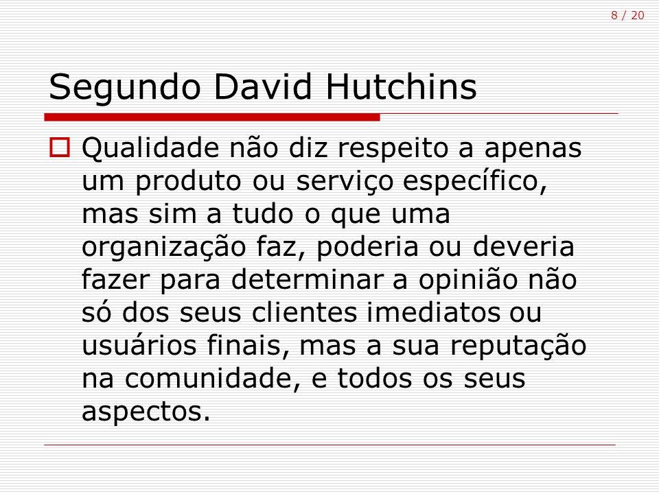 8 / 20 Segundo David Hutchins Qualidade não diz respeito a apenas um produto ou serviço específico, mas sim a tudo o que uma organização faz, poderia