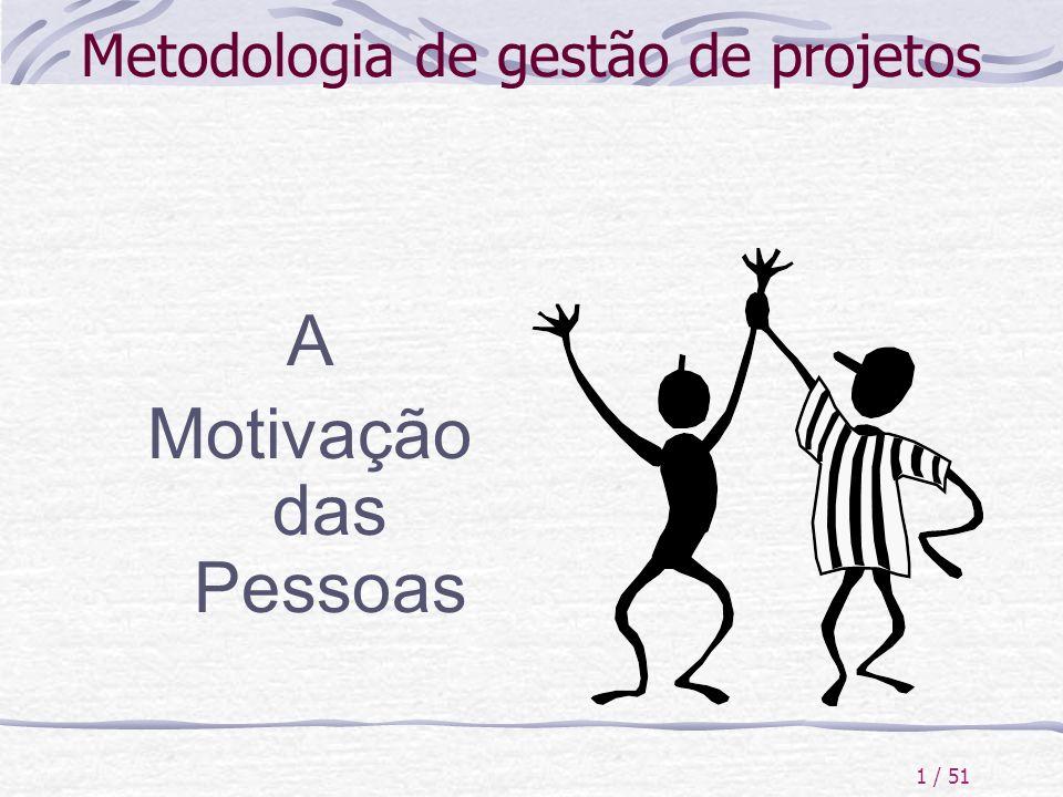 1 / 51 Metodologia de gestão de projetos A Motivação das Pessoas